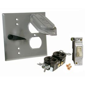 Hubbell 5166-0 Two Gang Weatherproof Device Mount Cover Duplex & Switch - Pkg Qty 8