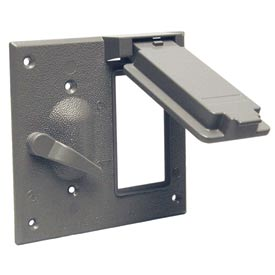 Hubbell 5167-0 Two Gang Weatherproof Box Mount Cover Gfci And Switch - Pkg Qty 8
