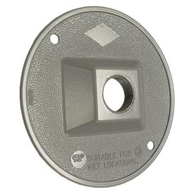 """Hubbell 5193-0 Weatherproof Cover 4"""" Round Cluster, 1 Hole, Gray - Pkg Qty 20"""