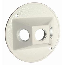 "Hubbell 5197-1 Weatherproof Cover 4"" Round Cluster, Three Hole, White - Pkg Qty 20"