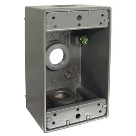 "Hubbell 5320-0 Single Gang Weatherproof Box 3-1/2"" Outlets, Gray - Pkg Qty 20"