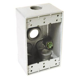 """Hubbell 5321-1 Single Gang Weatherproof Box 4-1/2"""" Outlets, White - Pkg Qty 20"""