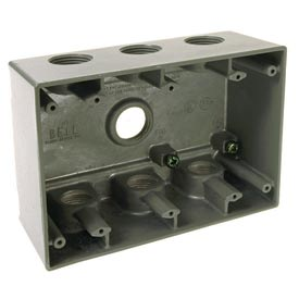 """Hubbell 5390-0 Three Gang Deep Weatherproof Box 7-3/4"""" Outlets Gray"""