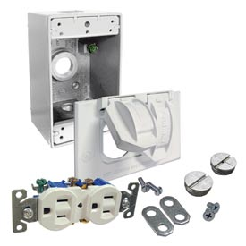 Hubbell 5839-6 Weatherproof Box, Cover And Duplex Receptacle White - Pkg Qty 4