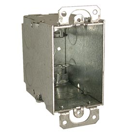 "Hubbell 600 Switch Box 3""X2"", 3-1/2"" Deep, Gangable, Mc/Bx Clamps, W/Plaster Ears - Pkg Qty 25"