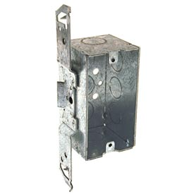 "Hubbell 678 Handy Box 4""X2"", 2-1/8"" D, 1/2"" End Knockouts, Stud Bracket, Welded - Pkg Qty 50"