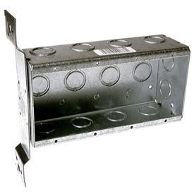 "Hubbell 687 4 Device Box, 2-1/2""D, 1/2""&3/4"" Side Knockouts, Stud Bracket, Welded - Pkg Qty 10"