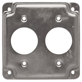 "Hubbell 807c 4"" Square Exposed Work Cover, Two 1.406 Diam Holes - Pkg Qty 10"