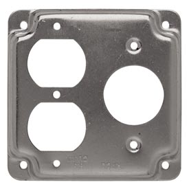 "Hubbell 831c 4"" Square Exposed Work Cover, 1 Dplx & 1 20a Twist-Lock 1.620 Diam. Hole - Pkg Qty 10"