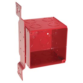 "Hubbell 911-1 Square Box 4"", 3-1/2""D, Painted Red, 1/2"" & 3/4"" Side K/O, Stud Bracket - Pkg Qty 10"