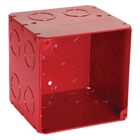 "Hubbell 911-2 Square Box 4"", 3-1/2"" Deep, Painted Red, 1/2"" & 3/4"" Side Knockouts, Welded - Pkg Qty 25"