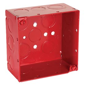 "Hubbell 911-3 Square Box 4"", 2-1/8"" Deep, Painted Red, 1/2"" & 3/4"" Side Knockouts, Welded - Pkg Qty 25"