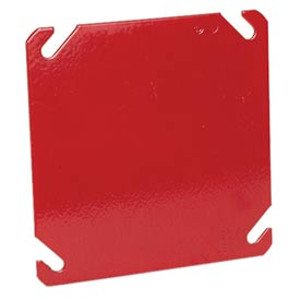 "Hubbell 911-8 4"" Square Box Cover, Painted Red, Blank - Pkg Qty 50"