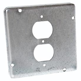 "Hubbell 972 4-11/16"" Square Exposed Work Cover, 1 Duplex Receptacle - Pkg Qty 10"