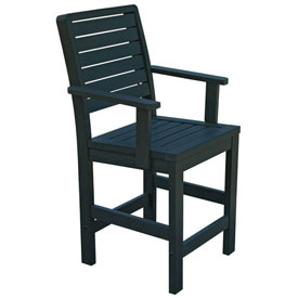 Highwood® Synthetic Wood Weatherly Counter Height Dining Chair With Arms, Charleston Green
