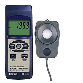 Reed Instruments SD-1128-NIST Light Meter/Type J/K Thermometer, Data Logger, 100,000 Lux by