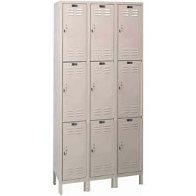 "Hallowell UH3228-3A-PT ValueMaxLocker, 36""x12""x26"", Parcment, Triple Tier, 3 Wide, Assembled"