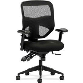 basyx® by HON® Ergonomic Executive Chair with Mesh Back - Fabric - High Back - Black