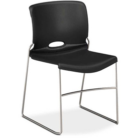 HON® Armless Stacking Chair - Plastic  - Onyx - Olson Series