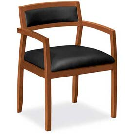 HON® - Basyx® Guest Chair with Cherry Frame - Leather Seat - Black
