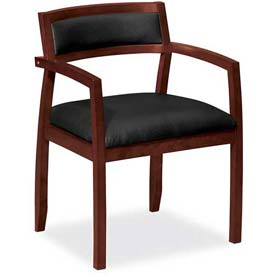 HON® - Basyx® Guest Chair with Mahogany Frame - Leather Seat - Black