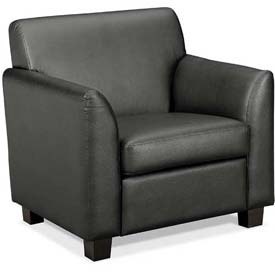 HON® - Basyx® Tailored Leather Club Chair with Wood Legs Black