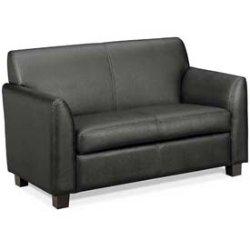 HON® - Basyx® Tailored Leather Reception Two-Cushion Loveseat Black