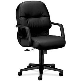 HON® - Manager's Task Chair with Pillow Top - Leather - Mid Back - Black