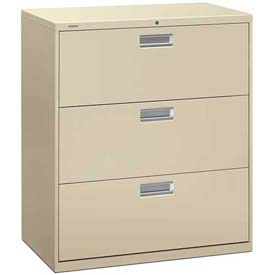 """HON® - Brigade®  600 Series 3 Drawer Lateral File 36""""W Putty"""