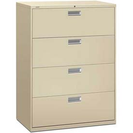 "HON® - Brigade®  600 Series 4 Drawer Lateral File 42""W Putty"