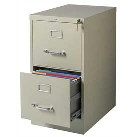 "Hirsh Industries® 22"" Deep Vertical File Cabinet 2-Drawer Letter Size Putty"