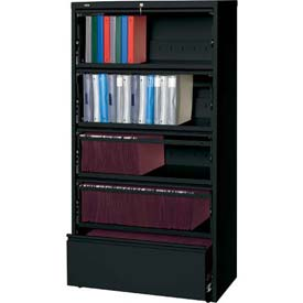 "Hirsh Industries® HL8000 Series® 36""W Receding Drawer Front Lateral File 5-Drawer- Black"