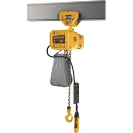 NER Dual Speed Elec Hoist w/ Push Trolley - 3 Ton, 10' Lift, 17/3 ft/min, 460V