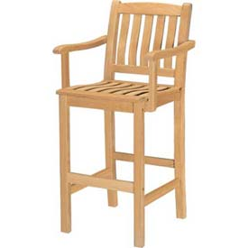 Hi-Teak Outdoor Bar Armchair, Unfinished Teak Wood by