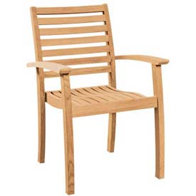 Hi-Teak Outdoor Royal Stacking Armchairs, Unfinished Teak Wood - Pkg Qty 4