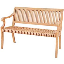 Hi-Teak Outdoor R Bench, Unfinished Teak Wood