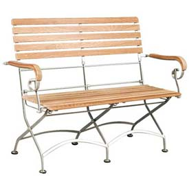 Hi-Teak Outdoor Bistro 2 Seater Bench With Iron Frame, Unfinished Teak Wood