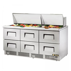 "True TFP-72-30M-D-6 Sandwich/Salad Unit 72.13""W X 31-1/2""D X 45-3/4""H by"