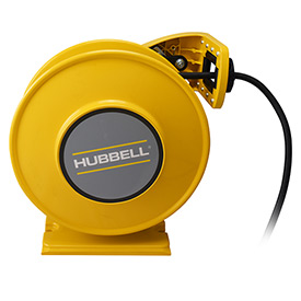 Hubbell GCA12345-DR Industrial Duty Cord Reel with G.F.C.I. Duplex Outlet Box - 12/3c x 45'