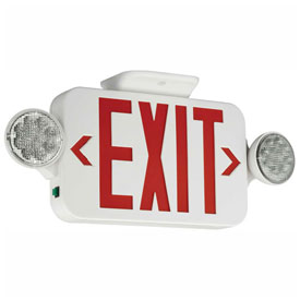 Hubbell CCR LED Combo Exit/Emergency Unit, Red Letters, White, Ni-Cad Battery