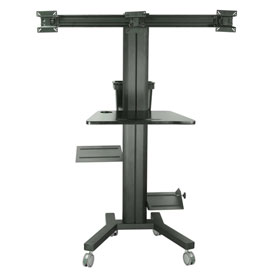 """TygerClaw LCD8507 Mobile PC Cart with Screen Mount for 30""""-60"""" Monitors - Black"""