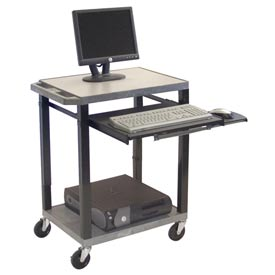 "Luxor Tuffy Mobile Computer Workstation, 24""W x 18""D x 33""H, Gray"
