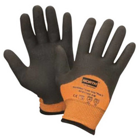 North Flex Cold Grip Plus 5 Cut Resistant Gloves, Hi-Vis Orange/Black, Size L, 1 Pair by