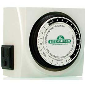Hydrofarm Dual Outlet Grounded Timer by