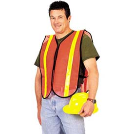 ComfitWear Safety Vest, Florescent Red/Orange, Polyester, One Size Package Count 12 by