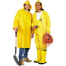 ComfitWear® 2-Piece 48 Inch Raincoat, Yellow, Polyester, L - Pkg Qty 10
