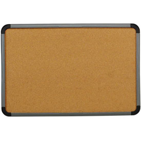 """Iceberg Cork Bulletin Board with Blow Mold Frame, 66""""W x 42""""H - Charcoal"""