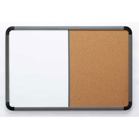 "Iceberg Combo Dry Erase/Cork Board with Blow Mold Frame, 66""W x 42""H - Charcoal"