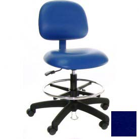 ESD Stool - Vinyl - Low Back - Nylon Base - Blue
