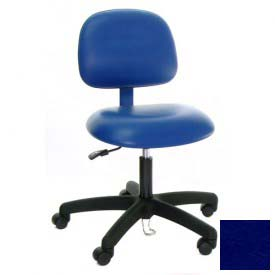 ESD-Safe Vinyl Clean Room Chair with Nylon Base with Drag Chain Blue
